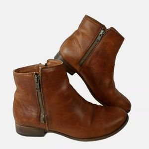 Frye Carly Double Side Zip Leather Booties Womens